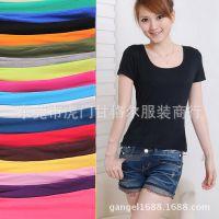 新品韩版修身女式短袖T恤 短款打底衫 莫代尔棉前后两面uv双领女t