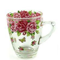 韩国进口正品玻璃餐具批发 玫瑰花玻璃水杯6P套装批发