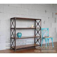 美式乡村 复古铁艺置物架 实木做旧层架 多功能落地厨房置物架