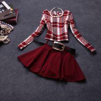 秋冬新款时尚欧美风格子修身长袖套装连衣裙