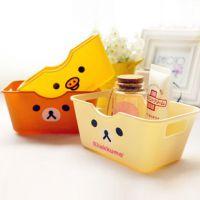 版卡通轻松熊 塑料盒方形 桌面收纳盒 储物盒 杂物篮a031