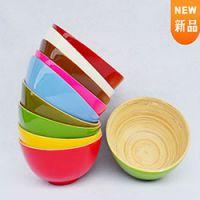 巨匠厂家定制天然环保创意原竹彩色竹碗沙拉碗