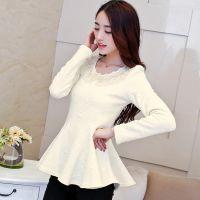 韩国女装外贸原单新款长袖T恤女式花边领修身裙摆上衣秋季打底衫