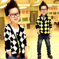 2014儿童开衫童装男童秋装 新款韩版格子针织外套秋天毛衣