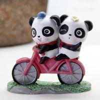 一优 卡通熊猫自行车摆设浪漫大熊猫一路上有你创意摆件礼物礼品