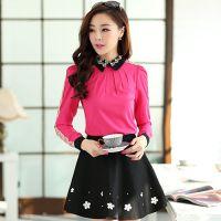 2014秋装新款韩版大码衬衣雪纺拼接蕾丝女衬衫 长袖翻领打底衫