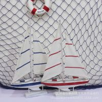 美式帆船模型 单帆船地中海做旧家居装饰 船模 摄影道具桌面摆件