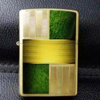 芝宝打火机zippo专柜正品2014年新款纯铜拉雕刻彩印绿色设计28796
