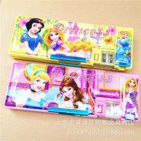 儿童卡通迪士尼公主芭比系列塑料功能按动双开文具盒名著精品文具
