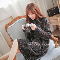 秋冬新款2014韩版双口袋高领毛衣裙花色长袖针织连衣裙宽松打底裙