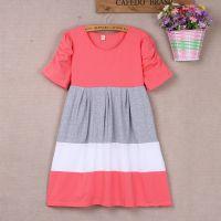 2014夏季新款孕妇装 韩版棉拼色短袖宽松大码孕妇连衣裙