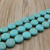 高仿宝石 批发20mm圆饼形人造绿松石串珠002# 宝石原石
