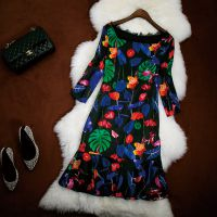 2014秋冬性感蕾丝半开领打底裙气质包臀荷叶边一步连衣裙6814