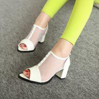 供应欧美新款凉鞋粗跟高跟鱼嘴凉鞋白色凉鞋女鞋子镂空网沙鞋 DHZ