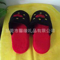 热款冬季毛绒保暖拖鞋 休息家居冬天保暖用品 刺绣卡通图案