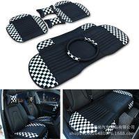 皮革黑白格子六件套 无靠背汽车坐垫 运动风格厂家直销批发