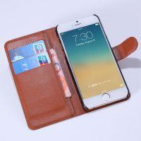 尚都五代 供应苹果 手机皮套 左右开荔枝纹支架保护套 手机套