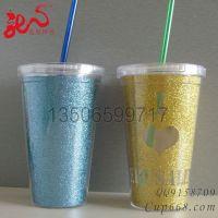 供应工厂订做 双层塑料吸管杯 礼品广告杯 可乐吸管杯 出口美国热销款