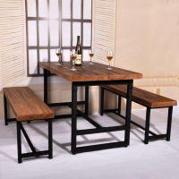 美式乡村铁艺家用餐桌实木咖啡厅餐厅饭店桌椅套 办公会议电脑桌
