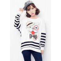 5256#实拍 秋装新款 韩版中长款条纹拼接蝙蝠袖圆领T恤卫衣女
