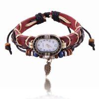 韩国时尚流复古皮带手表 树叶编织手链W6