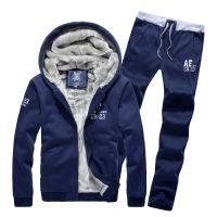 批发2014秋冬装新款加绒加厚卫衣套装 男士AF开衫连帽套装速卖通