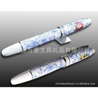 万里制笔厂供应金属圆珠笔,宝珠笔,签字笔,中国红笔,青花瓷笔推广