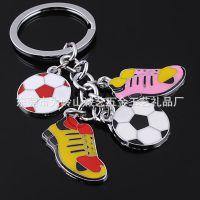 厂家直销 创意合金足球球鞋钥匙扣 金属体育串链钥匙扣链 热销rx
