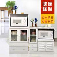 实木餐边柜 微波炉柜储藏柜碗橱 厨房多功能收纳柜