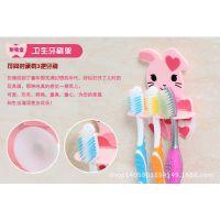 批发精装超级可爱韩版卡通双吸盘3位牙刷架 浴室牙刷挂