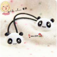 批发韩国版发头饰品儿童宝宝树脂熊猫双头发绳头绳发圈