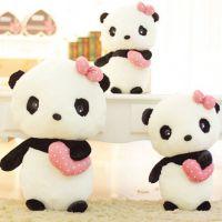 抱心熊猫公仔 黑白熊猫毛绒玩具 新款仿真动物小号大号抓机娃娃