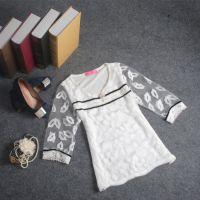 szgood2014秋季女装新款蕾丝衫 钉珠网纱绣花七分袖打底衫上衣