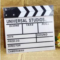 摄影道具 木制电影场记板电影打板大号白色导演板 装饰小黑板
