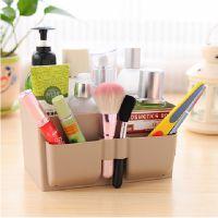 清新粉嫩塑料桌面收纳盒防水化妆品盒杂物储物盒置物收纳箱 批发