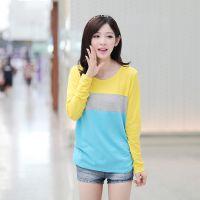 2014秋装新款韩版大码蝙蝠袖拼接色宽松条纹长袖T恤女 特价批发