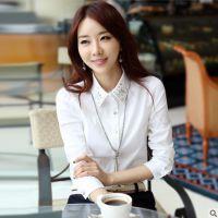 秋装新款韩版大码女装衬衣烫钻上衣打底衫白衬衫女长袖