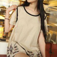 14年日系森女系休闲女士宽松短袖打底衫包边麻棉上衣t恤
