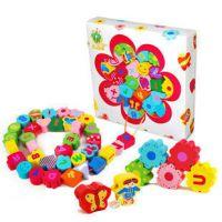厂家直销 花园串珠 木制益智玩具 1-3岁木质宝宝 大号穿线游戏