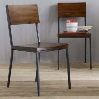 新款 欧式复古做旧实木餐椅 批发铁艺家具耐用餐椅 餐厅椅子