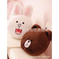 卡通毛绒批发 来自星星的你 LINE 布朗熊可妮兔 可爱抱枕 靠垫