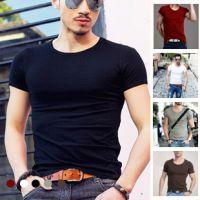 2014新款莫代尔男式短袖T恤 男士经典纯色圆领打底衫厂家直销