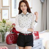2015春装韩版新款衬衫领雪纺衫长袖打底衫上衣