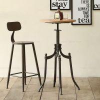 美式复古咖啡桌椅铁艺住宅家具休闲全实木茶几圆桌餐桌椅酒吧椅子