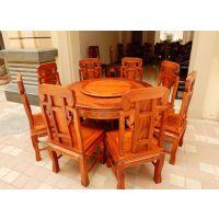 红木古典家具 缅甸花梨木象头如意餐桌 实木餐桌 圆形吃饭台9件套