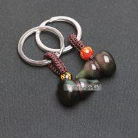 东海水晶 天然黑曜石葫芦钥匙扣 挂件 男女情侣款 福禄保平安