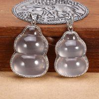 925纯银泰银 DIY配件 马克赛镶白水晶小葫芦吊坠挂件挂饰m052