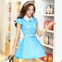 供应2014夏季新款女装韩版修身大码高端钉珠方领短袖蕾丝大码连衣裙