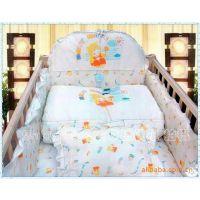 批发1.2米童床婴儿床品七件套 被子床靠床垫床围套件 全棉