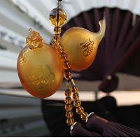 带貔貅琉璃葫芦挂件可加香水古法琉璃车挂件琥珀带盒